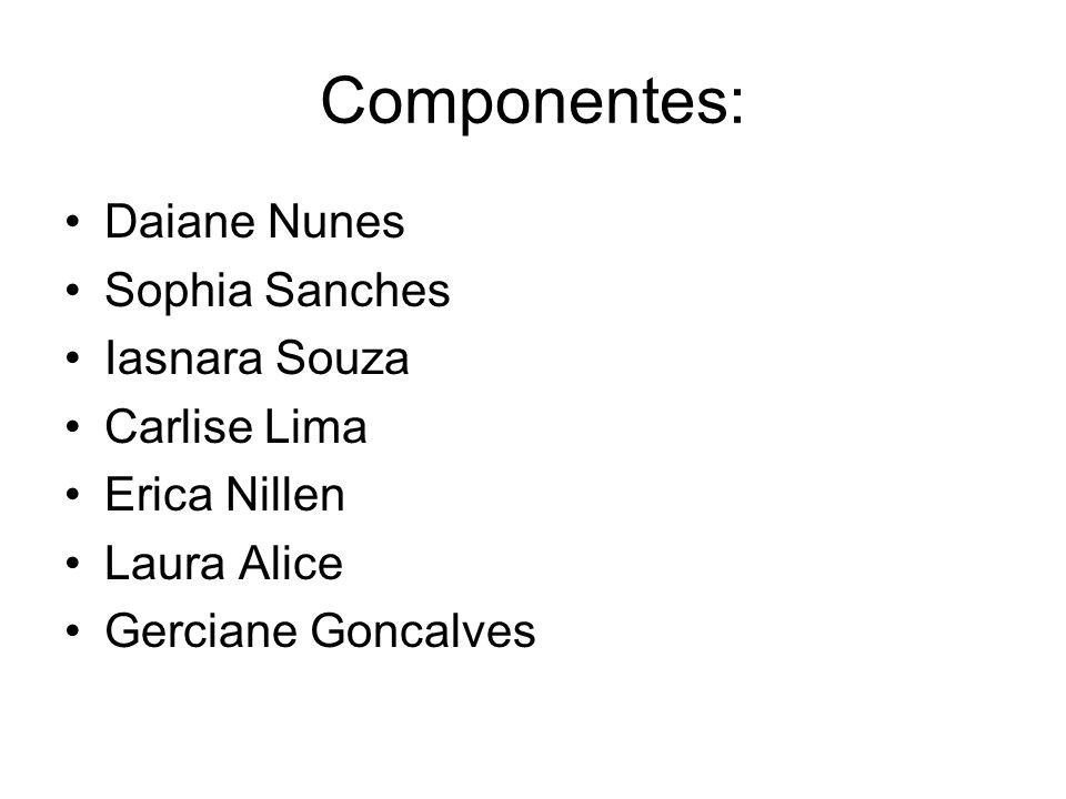 Componentes: Daiane Nunes Sophia Sanches Iasnara Souza Carlise Lima