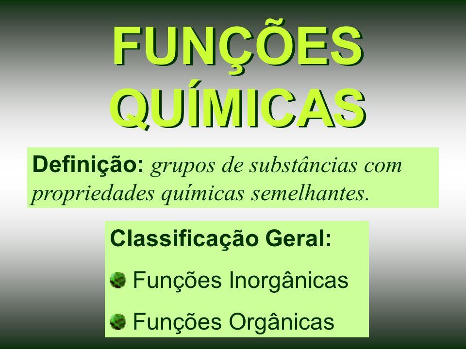 FUNÇÕES QUÍMICAS Definição: grupos de substâncias com propriedades químicas semelhantes. Classificação Geral: