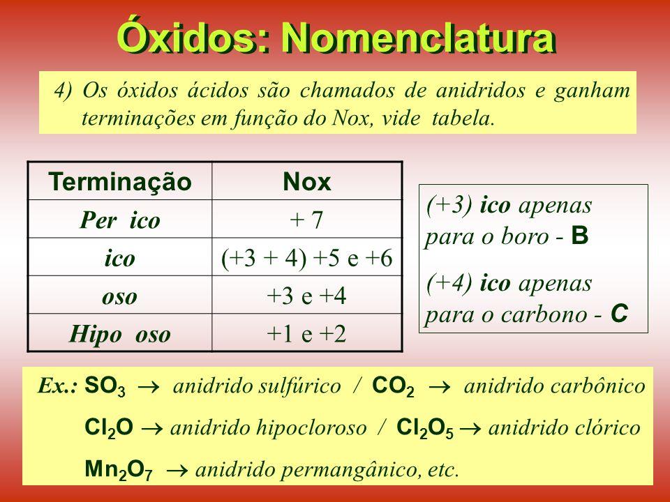 Óxidos: Nomenclatura Terminação Nox Per ico + 7 ico (+3 + 4) +5 e +6