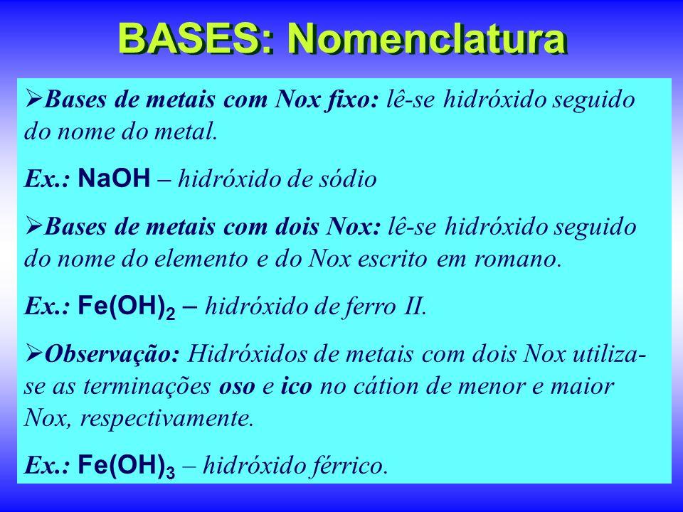 BASES: Nomenclatura Bases de metais com Nox fixo: lê-se hidróxido seguido do nome do metal. Ex.: NaOH – hidróxido de sódio.
