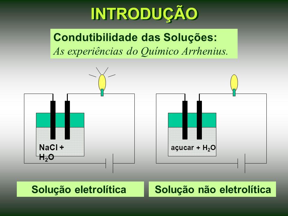 INTRODUÇÃO Condutibilidade das Soluções: As experiências do Químico Arrhenius.