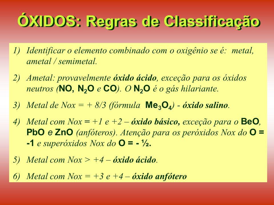 ÓXIDOS: Regras de Classificação