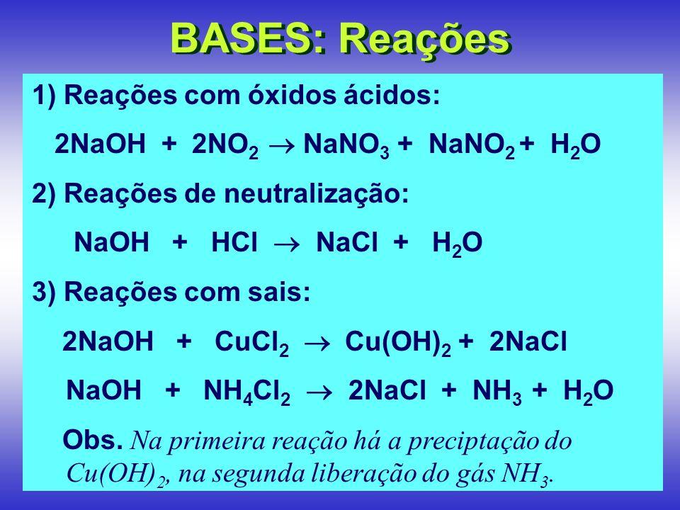 BASES: Reações 1) Reações com óxidos ácidos: