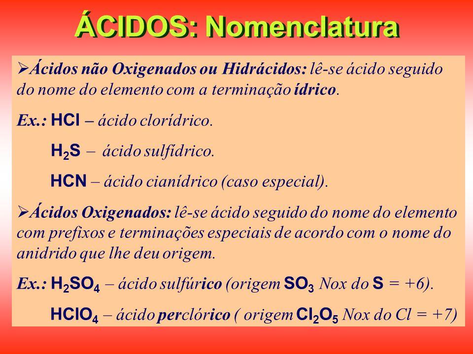 ÁCIDOS: Nomenclatura Ácidos não Oxigenados ou Hidrácidos: lê-se ácido seguido do nome do elemento com a terminação ídrico.