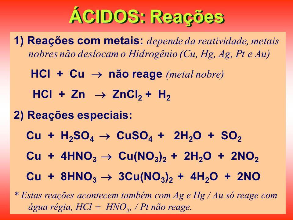 ÁCIDOS: Reações 1) Reações com metais: depende da reatividade, metais nobres não deslocam o Hidrogênio (Cu, Hg, Ag, Pt e Au)