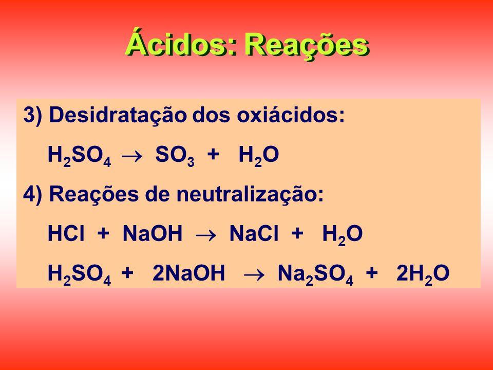 Ácidos: Reações 3) Desidratação dos oxiácidos: H2SO4  SO3 + H2O