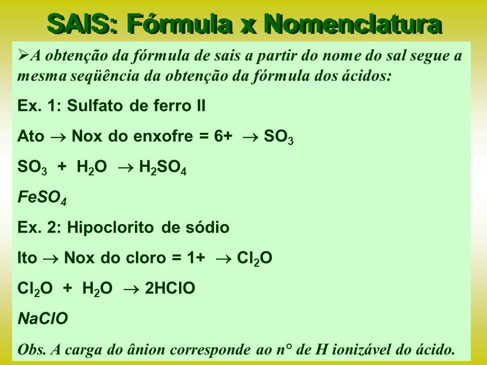 SAIS: Fórmula x Nomenclatura