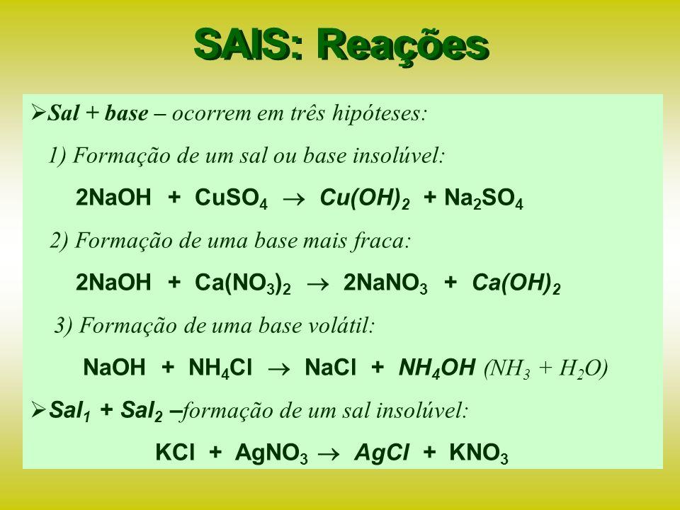 SAIS: Reações Sal + base – ocorrem em três hipóteses:
