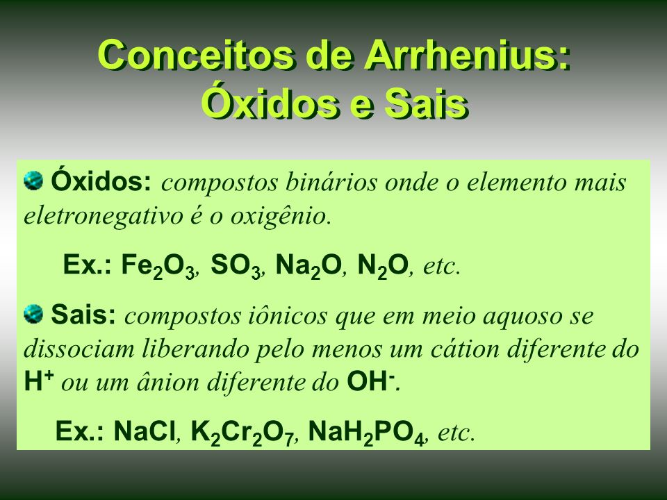 Conceitos de Arrhenius: Óxidos e Sais
