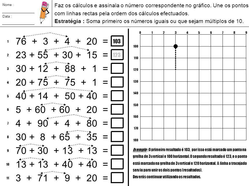 Nome : Faz os cálculos e assinala o número correspondente no gráfico. Une os pontos. com linhas rectas pela ordem dos cálculos efectuados.