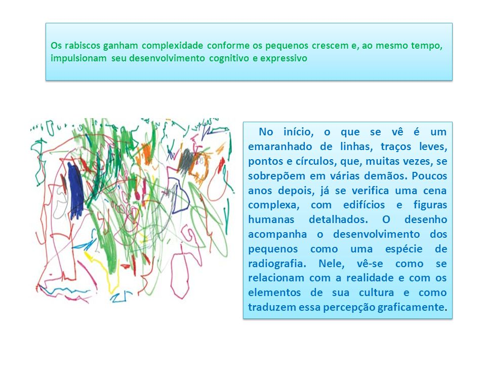 Os rabiscos ganham complexidade conforme os pequenos crescem e, ao mesmo tempo, impulsionam seu desenvolvimento cognitivo e expressivo