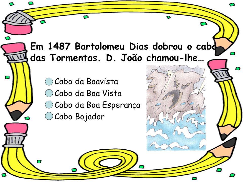 Em 1487 Bartolomeu Dias dobrou o cabo das Tormentas. D