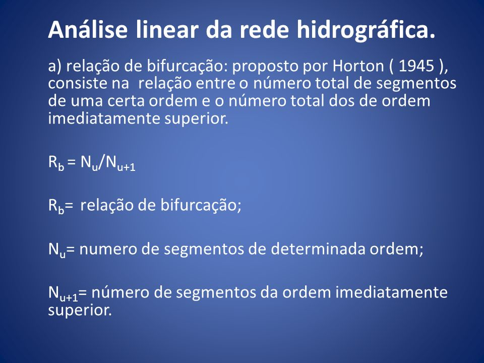 Análise linear da rede hidrográfica.
