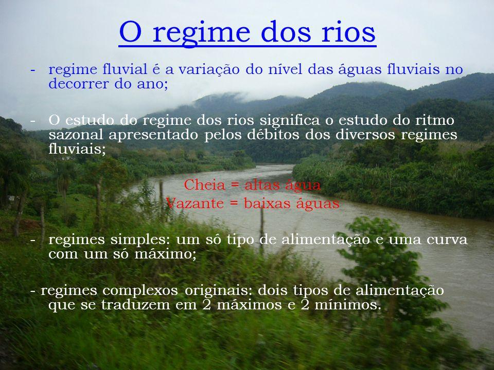 O regime dos rios regime fluvial é a variação do nível das águas fluviais no decorrer do ano;