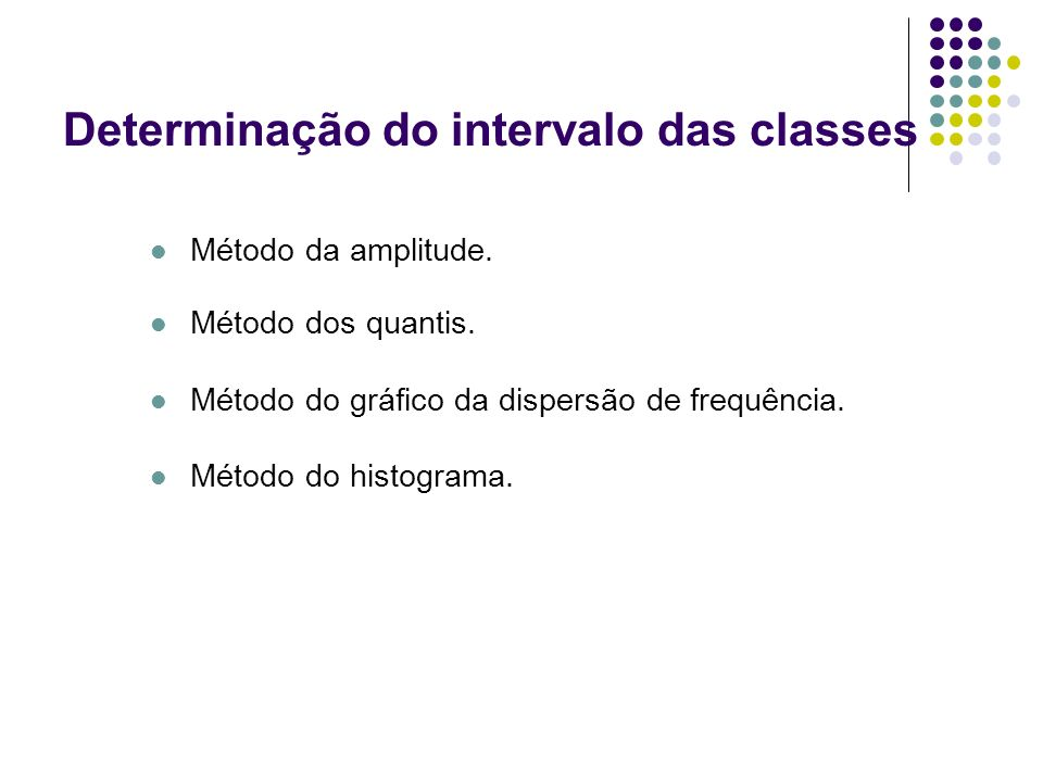 Determinação do intervalo das classes