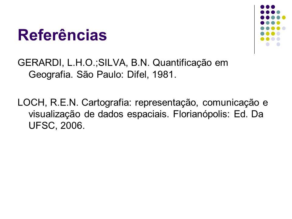Referências GERARDI, L.H.O.;SILVA, B.N. Quantificação em Geografia. São Paulo: Difel, 1981.
