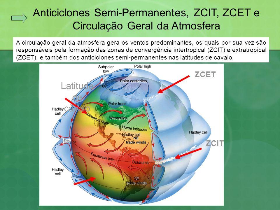 Anticiclones Semi-Permanentes, ZCIT, ZCET e Circulação Geral da Atmosfera