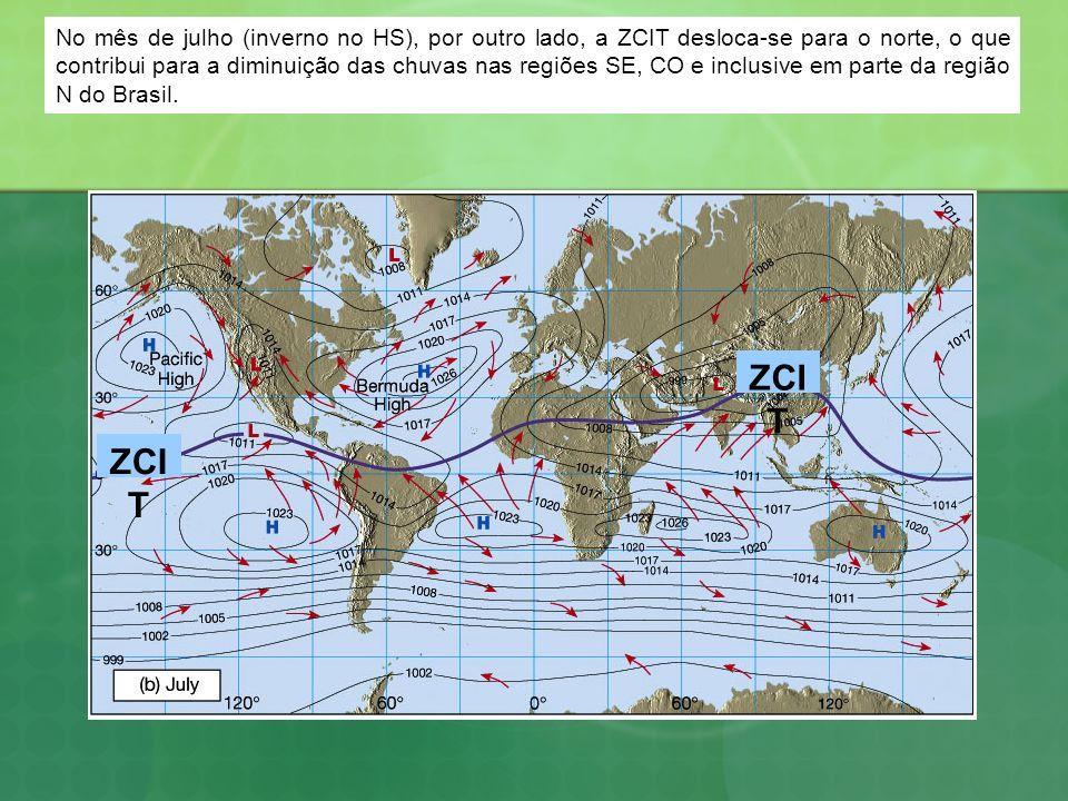 No mês de julho (inverno no HS), por outro lado, a ZCIT desloca-se para o norte, o que contribui para a diminuição das chuvas nas regiões SE, CO e inclusive em parte da região N do Brasil.