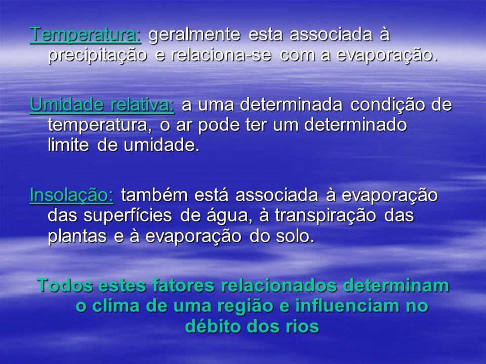 Temperatura: geralmente esta associada à precipitação e relaciona-se com a evaporação.
