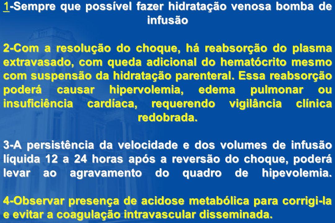 1-Sempre que possível fazer hidratação venosa bomba de infusão 2-Com a resolução do choque, há reabsorção do plasma extravasado, com queda adicional do hematócrito mesmo com suspensão da hidratação parenteral.
