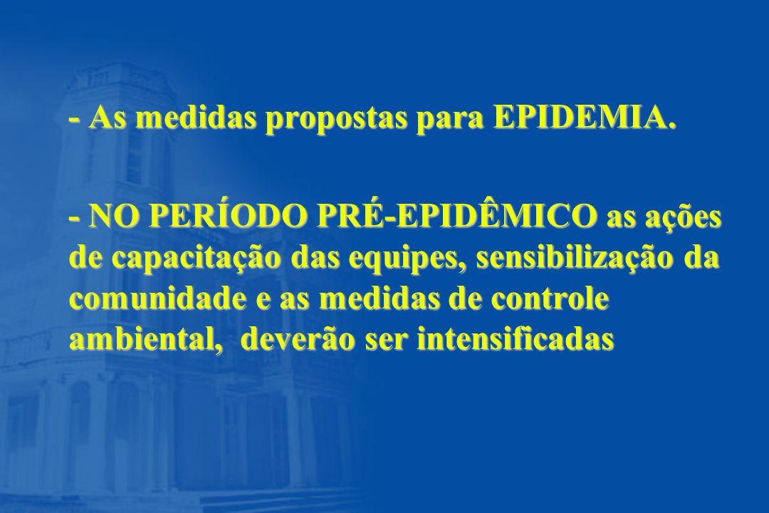 - As medidas propostas para EPIDEMIA.