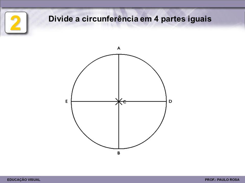 Divide a circunferência em 4 partes iguais