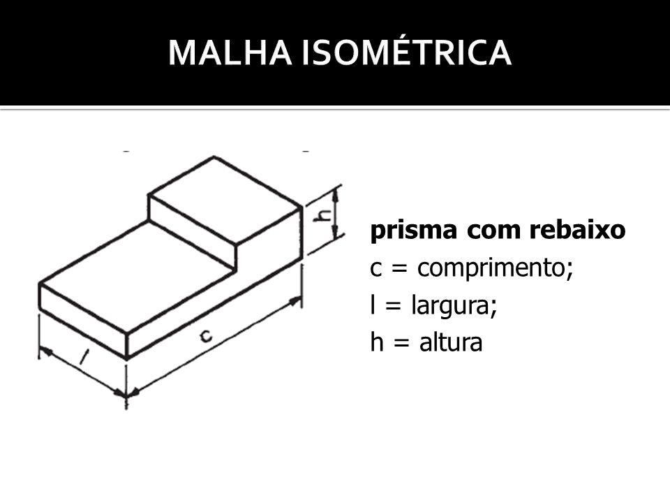 MALHA ISOMÉTRICA prisma com rebaixo c = comprimento; l = largura;