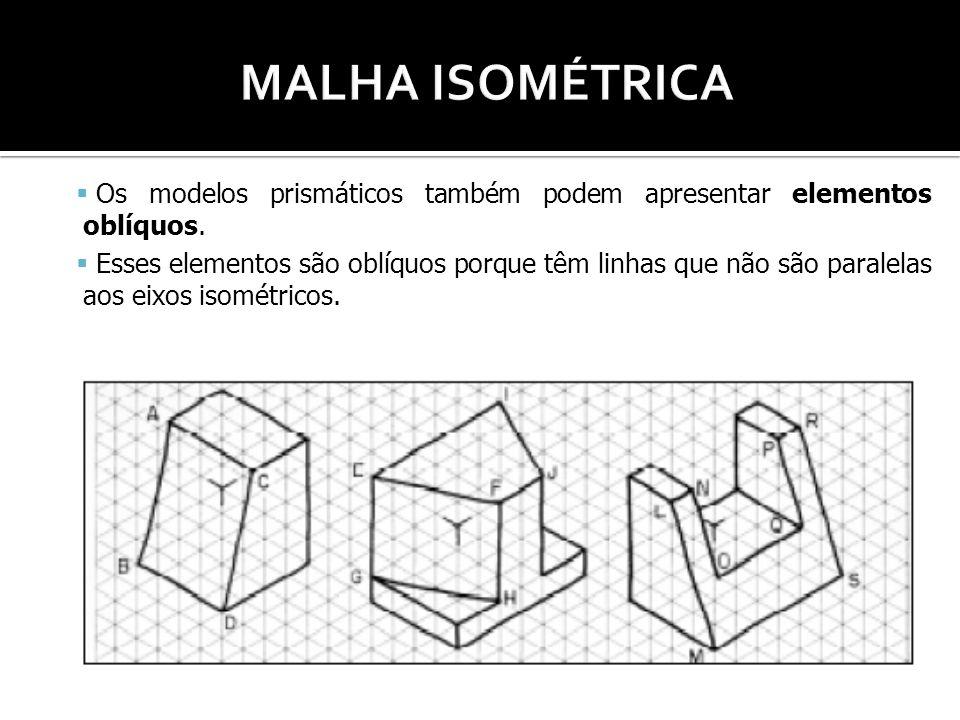 MALHA ISOMÉTRICA Os modelos prismáticos também podem apresentar elementos oblíquos.