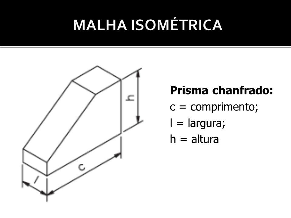 MALHA ISOMÉTRICA Prisma chanfrado: c = comprimento; l = largura;