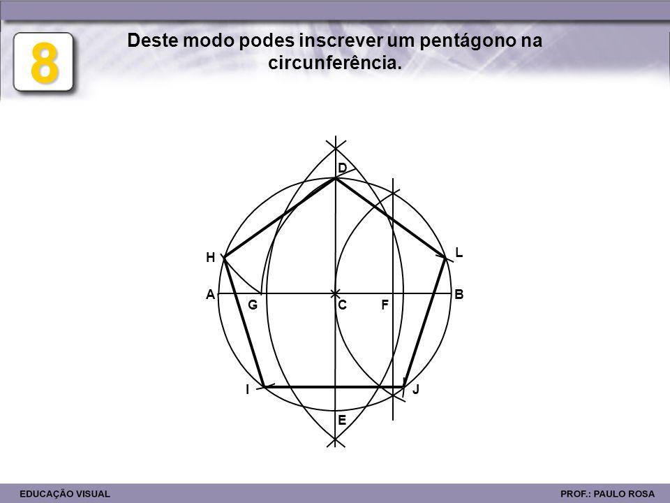 Deste modo podes inscrever um pentágono na circunferência.