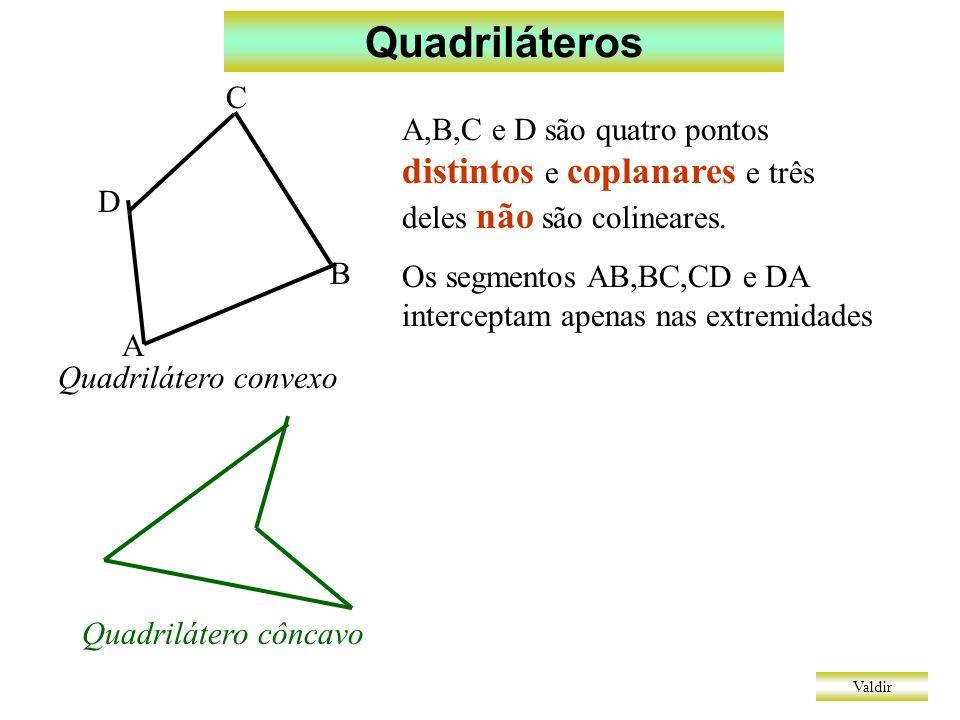 Quadriláteros A. B. C. D. A,B,C e D são quatro pontos distintos e coplanares e três deles não são colineares.