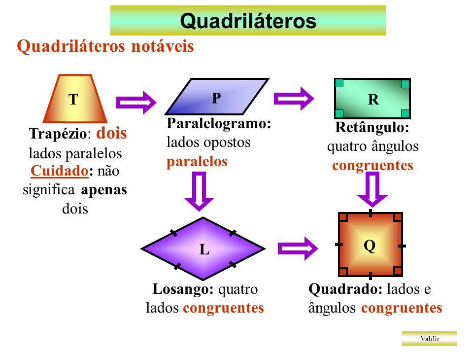 Quadriláteros Quadriláteros notáveis T P R