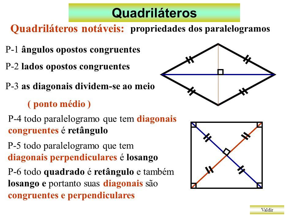 Quadriláteros Quadriláteros notáveis: propriedades dos paralelogramos
