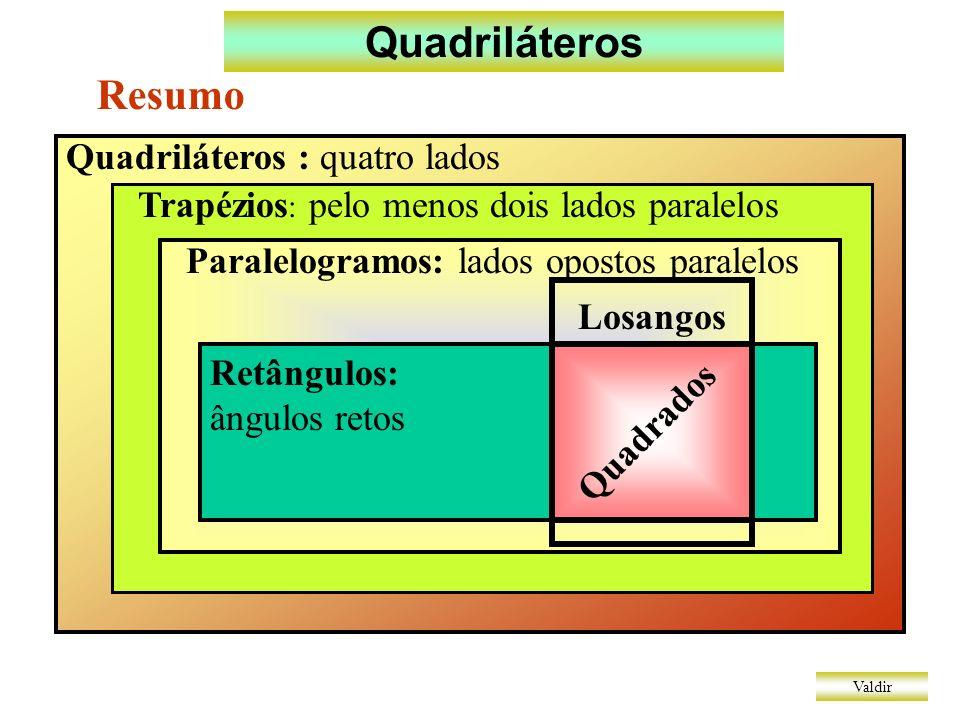 Quadriláteros Resumo Quadriláteros : quatro lados