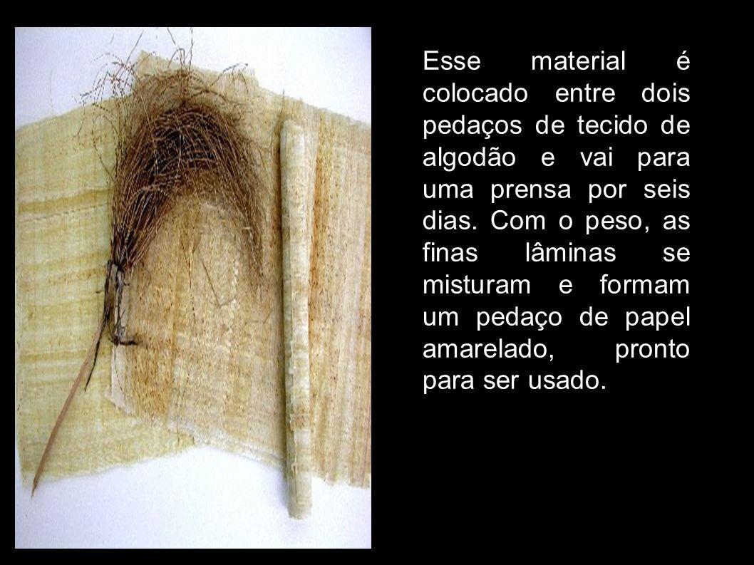 Esse material é colocado entre dois pedaços de tecido de algodão e vai para uma prensa por seis dias.