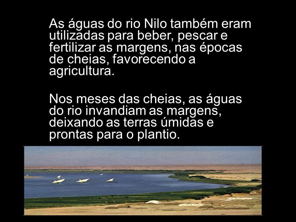 As águas do rio Nilo também eram utilizadas para beber, pescar e fertilizar as margens, nas épocas de cheias, favorecendo a agricultura.