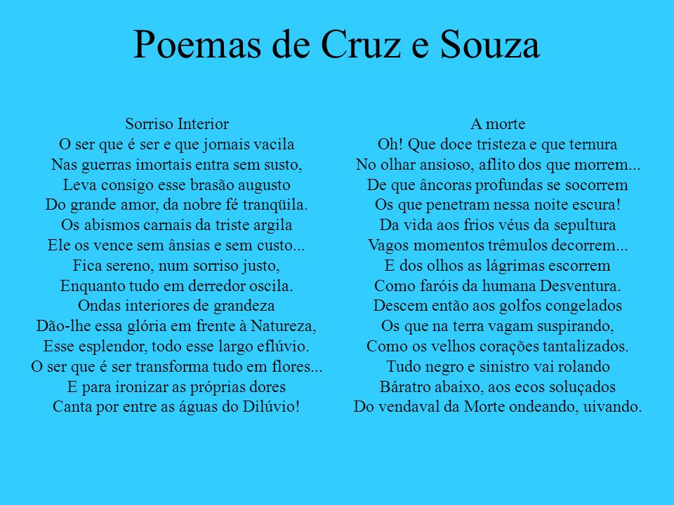 Poemas de Cruz e Souza Sorriso Interior