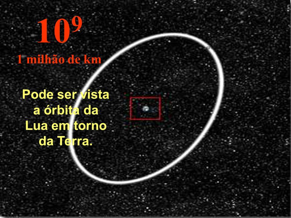 Pode ser vista a órbita da Lua em torno da Terra.