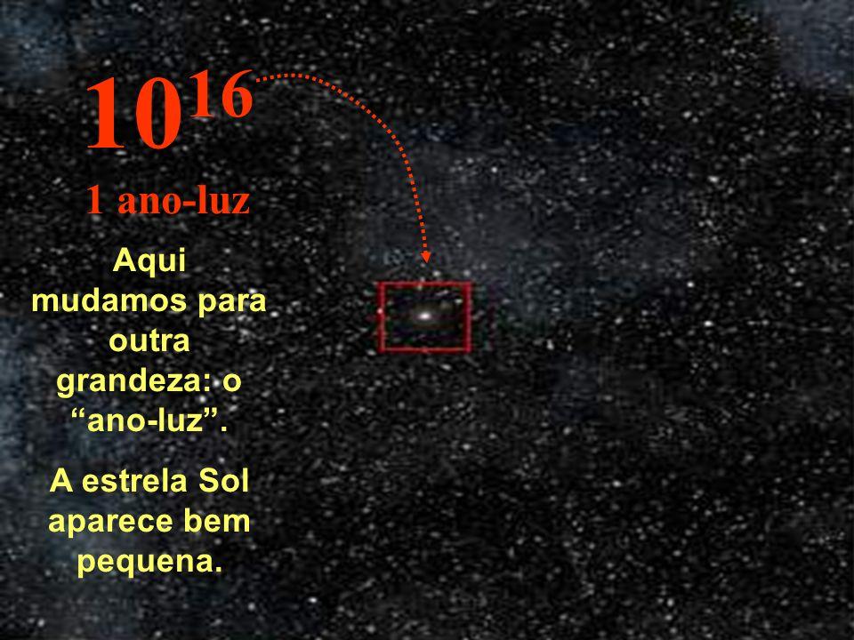 1016 1 ano-luz Aqui mudamos para outra grandeza: o ano-luz .