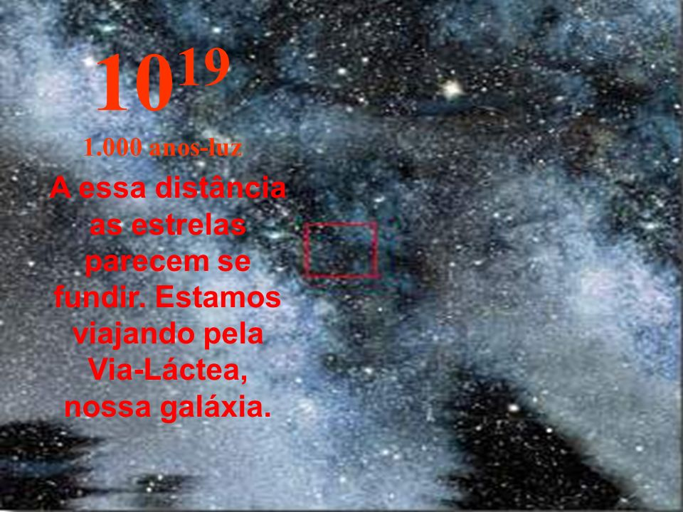 10191.000 anos-luz.A essa distância as estrelas parecem se fundir.