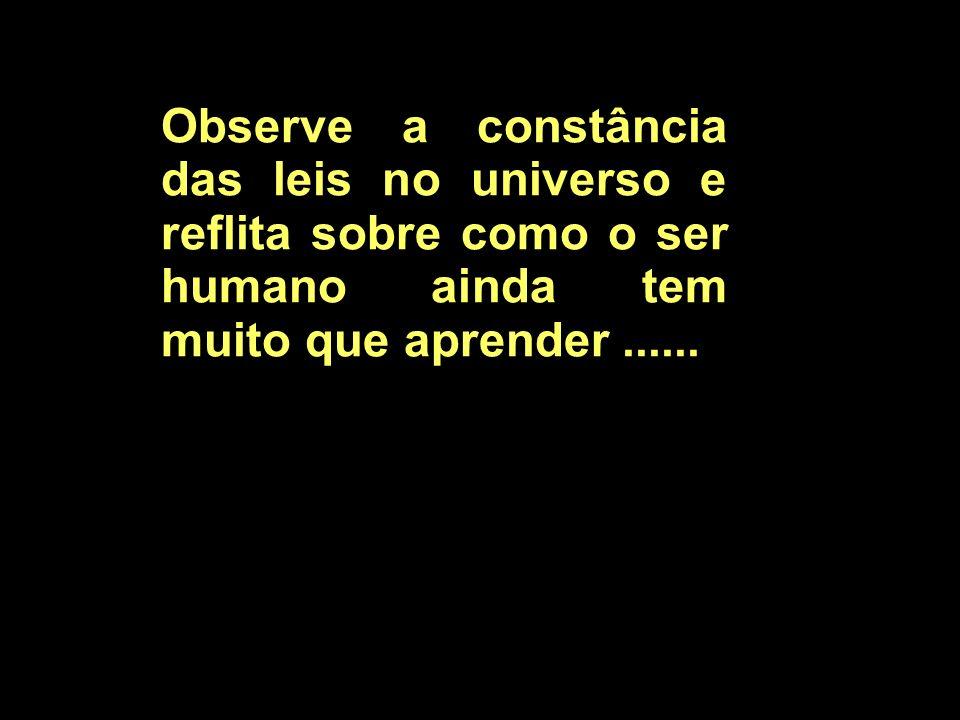 Observe a constância das leis no universo e reflita sobre como o ser humano ainda tem muito que aprender ......