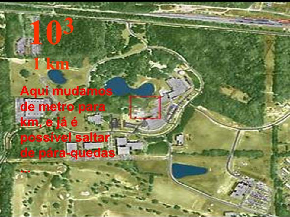 103 1 km Aqui mudamos de metro para km, e já é possível saltar de pára-quedas ...