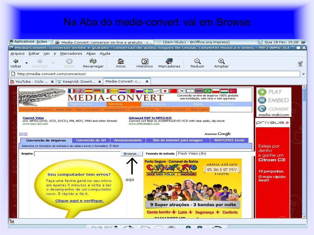 Na Aba do media-convert vai em Browse