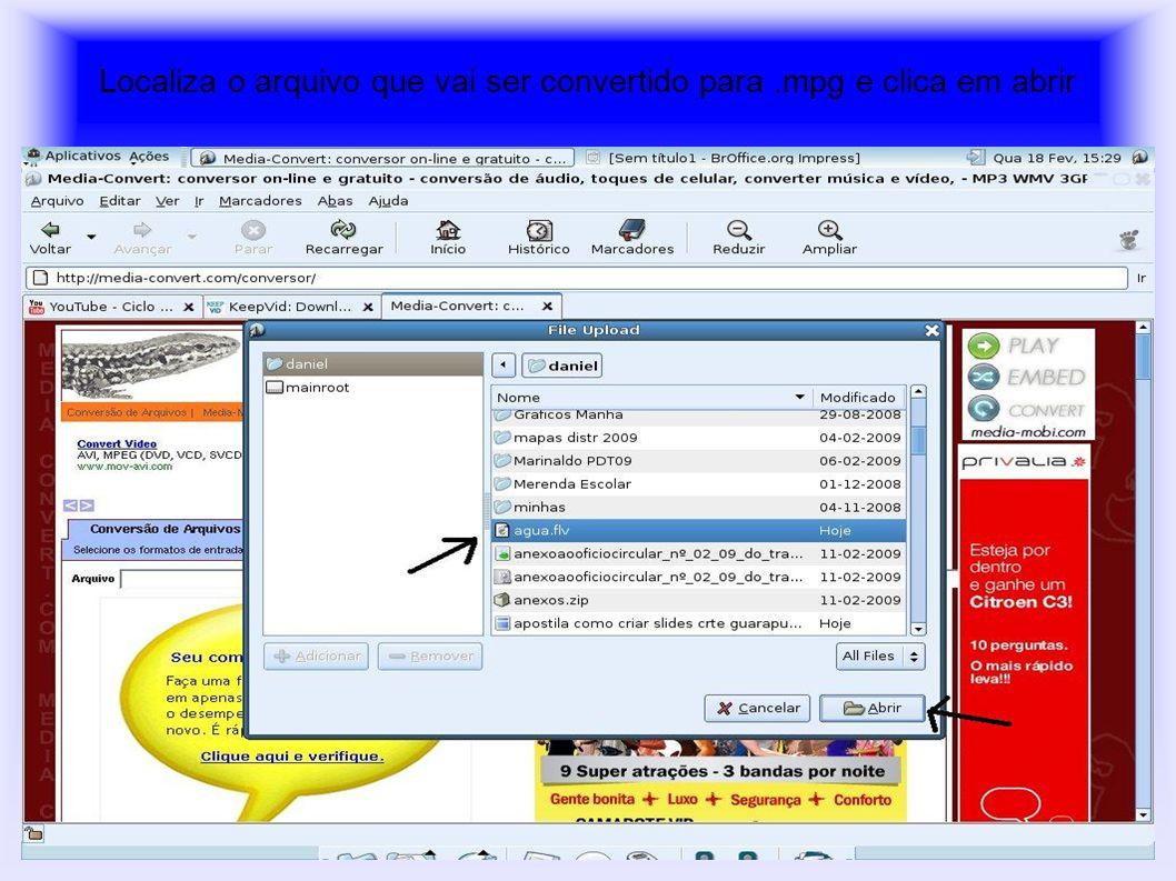 Localiza o arquivo que vai ser convertido para .mpg e clica em abrir