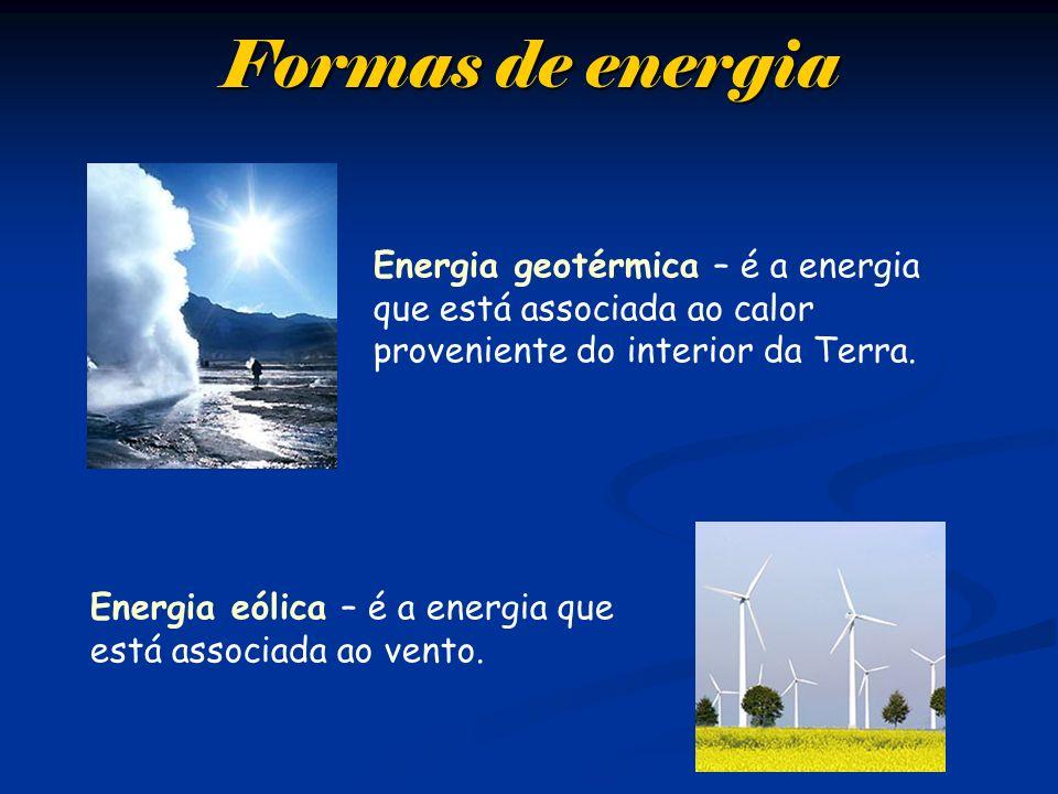 Formas de energiaEnergia geotérmica – é a energia que está associada ao calor proveniente do interior da Terra.