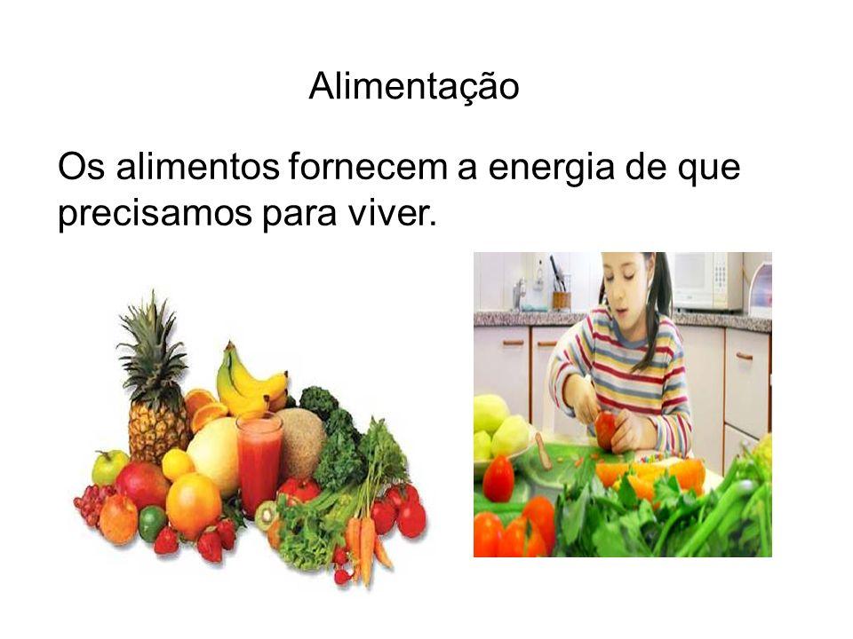 Alimentação Os alimentos fornecem a energia de que precisamos para viver.