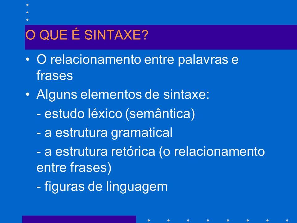 O QUE É SINTAXE O relacionamento entre palavras e frases. Alguns elementos de sintaxe: - estudo léxico (semântica)