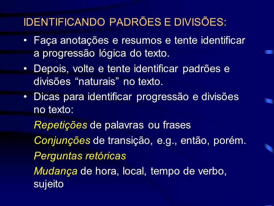 IDENTIFICANDO PADRÕES E DIVISÕES: