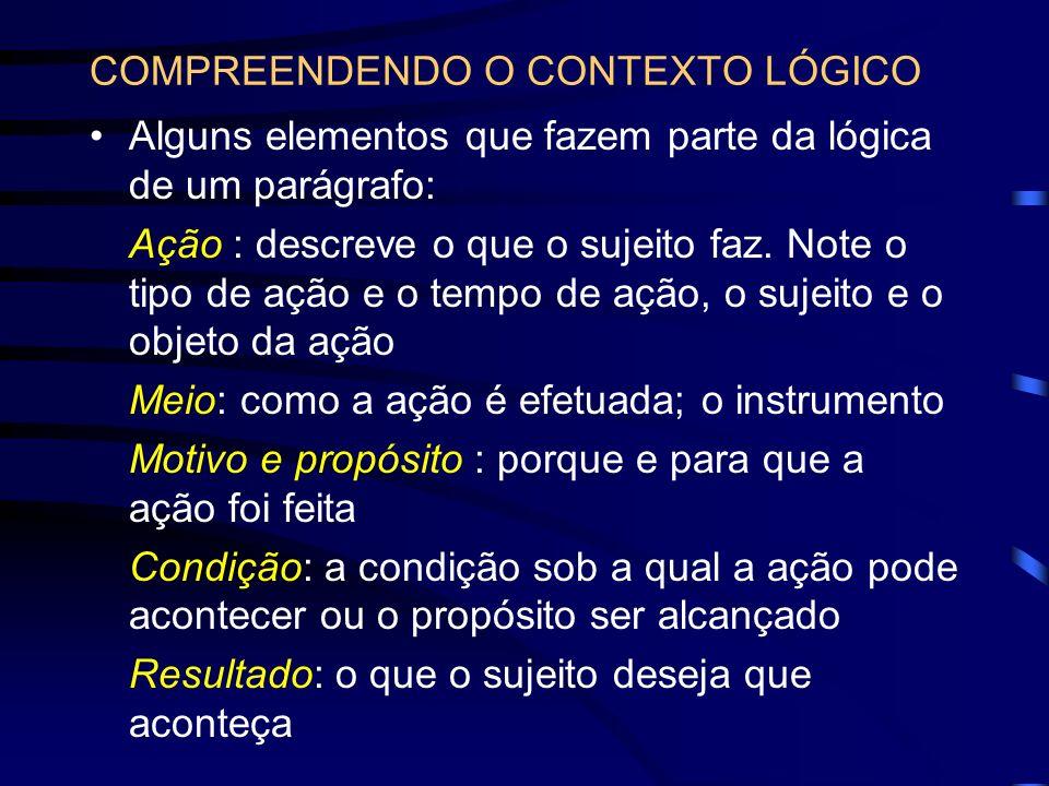 COMPREENDENDO O CONTEXTO LÓGICO
