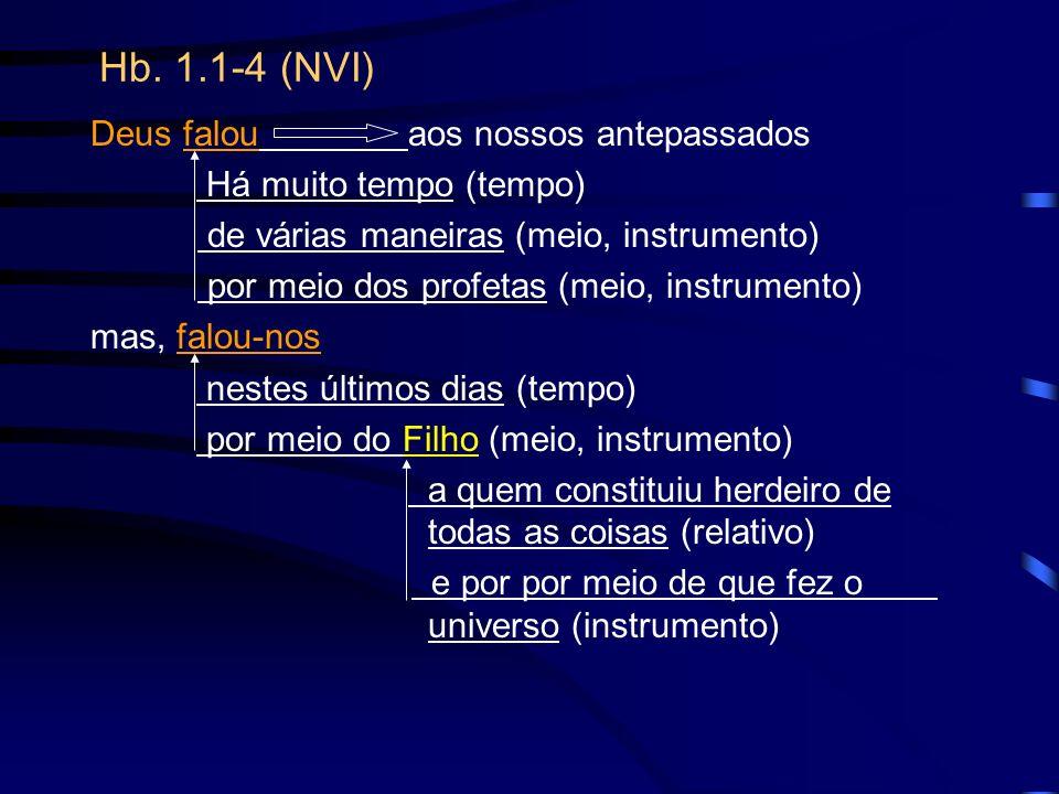 Hb. 1.1-4 (NVI) Deus falou aos nossos antepassados